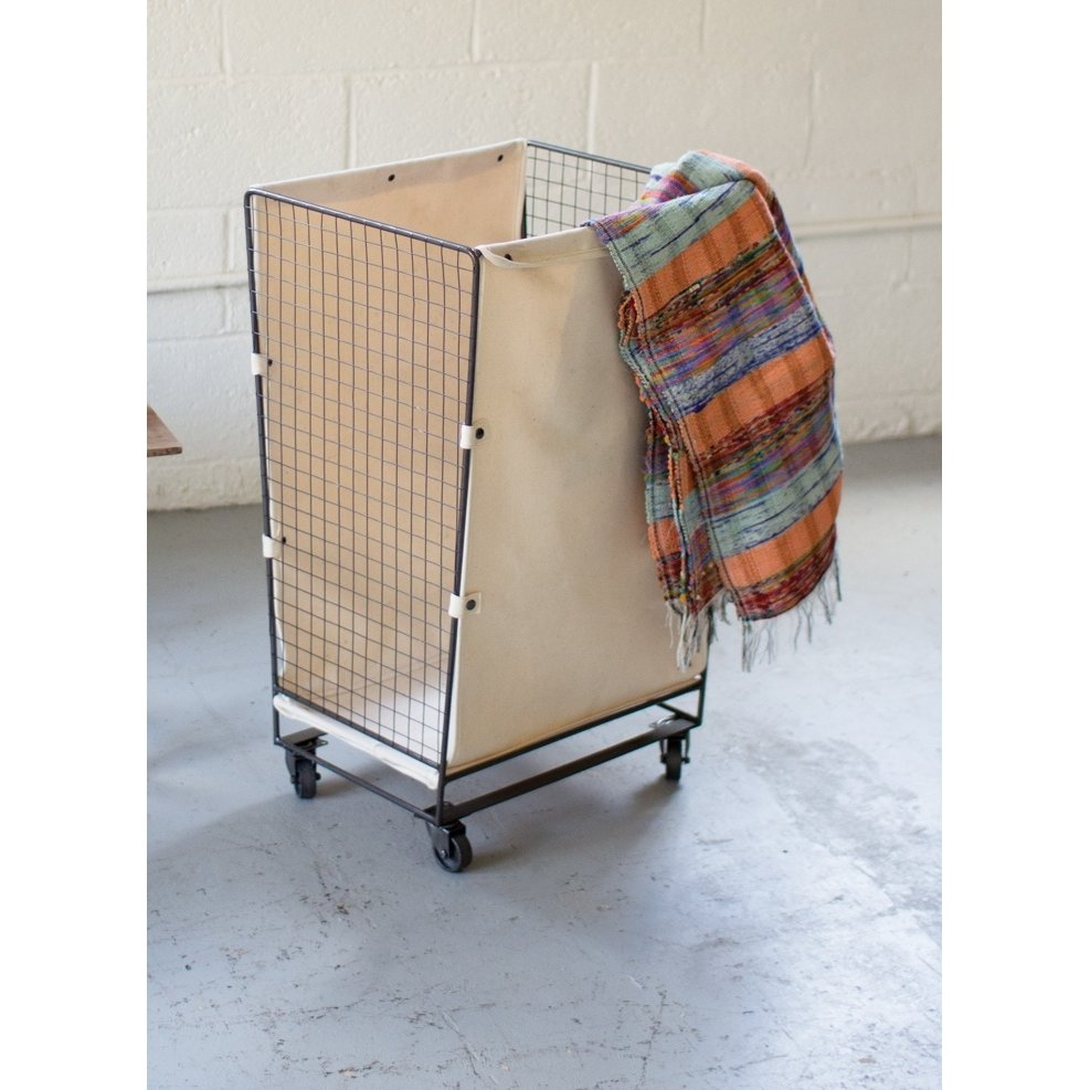 Rc Willey Orem: Canvas And Wire Hamper On Wheels
