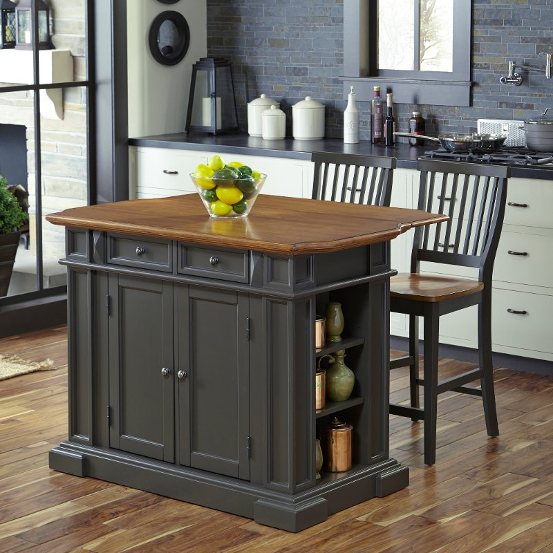 Gray Kitchen Island With 2 Stools Americana Rc Willey