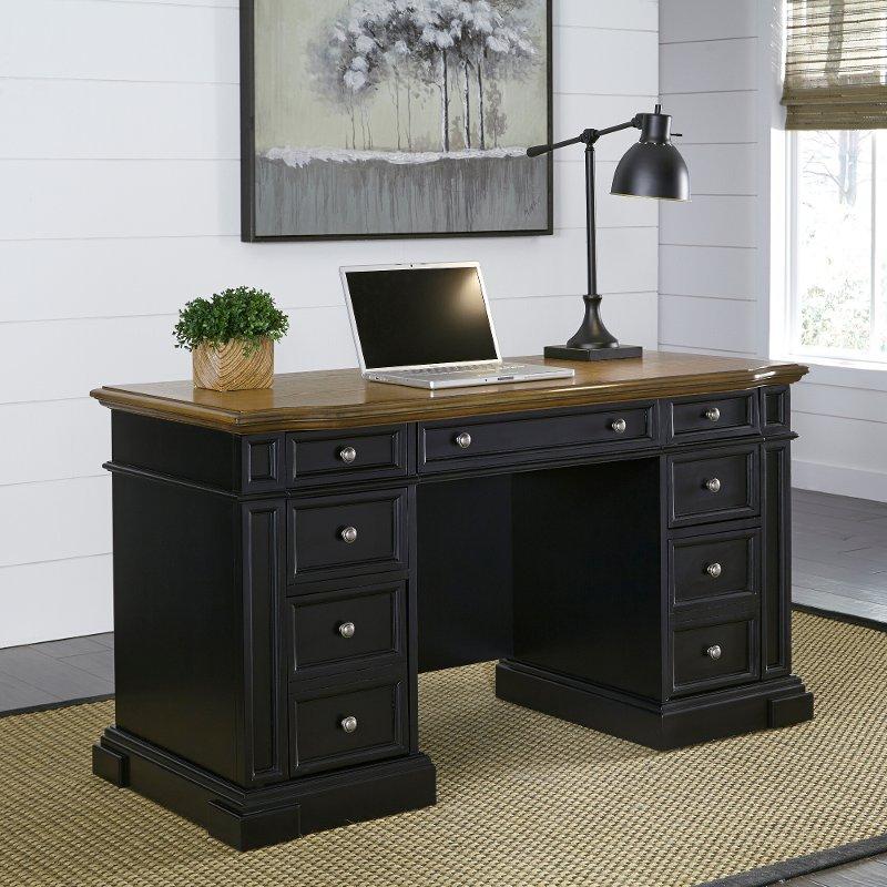 Black Pedestal Desk - Americana