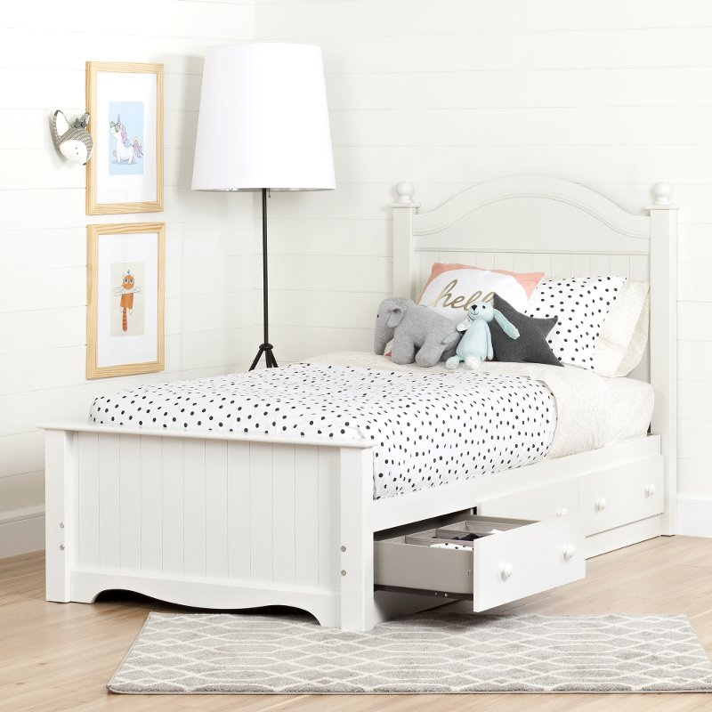 Pure White Twin Bed Set With 3 Drawers