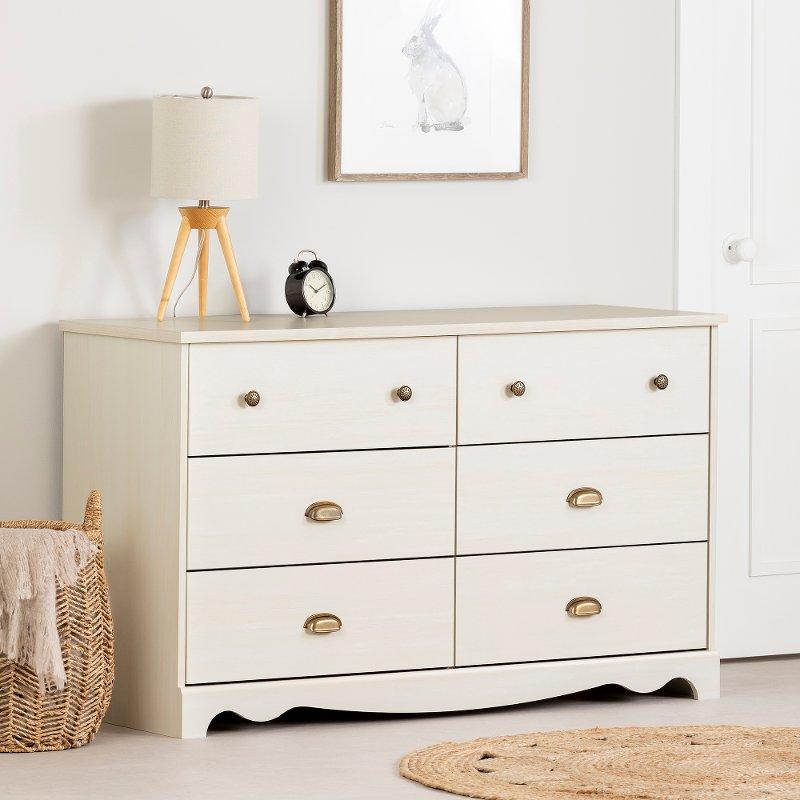 White Wash 6 Drawer Double Dresser