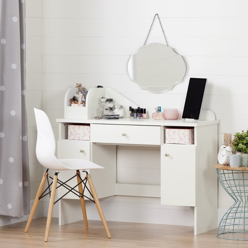 Pure White Makeup Desk With Drawer Vito Rc Willey Furniture Store