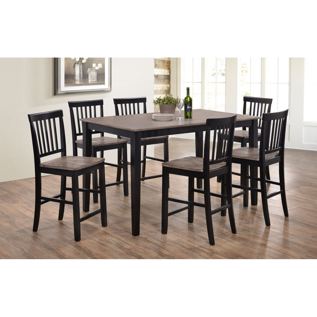 Beach Dining Room Sets: Ebony And Ash 5 Piece Counter Height Dining Set