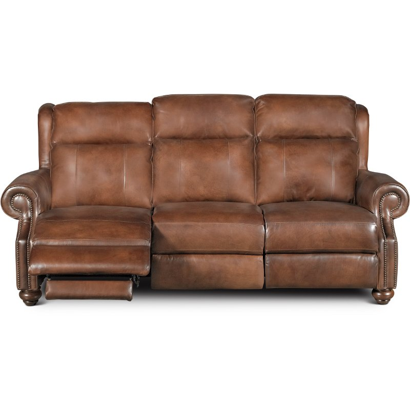 Coffee Bean Brown Leather Reclining Sofa Han