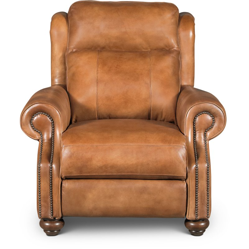 Whiskey Light Brown Leather Power Recliner Hancock Rc