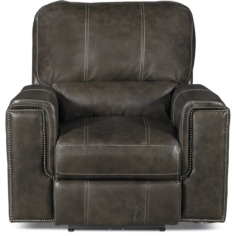 Twilight Charcoal Gray Leather Match Power Recliner   Salinger
