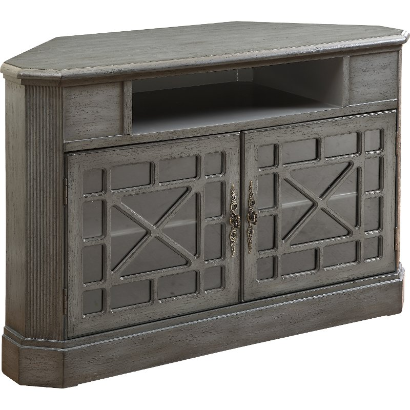 50 Inch Textured Gray Corner Tv Stand Rc Willey Furniture Store