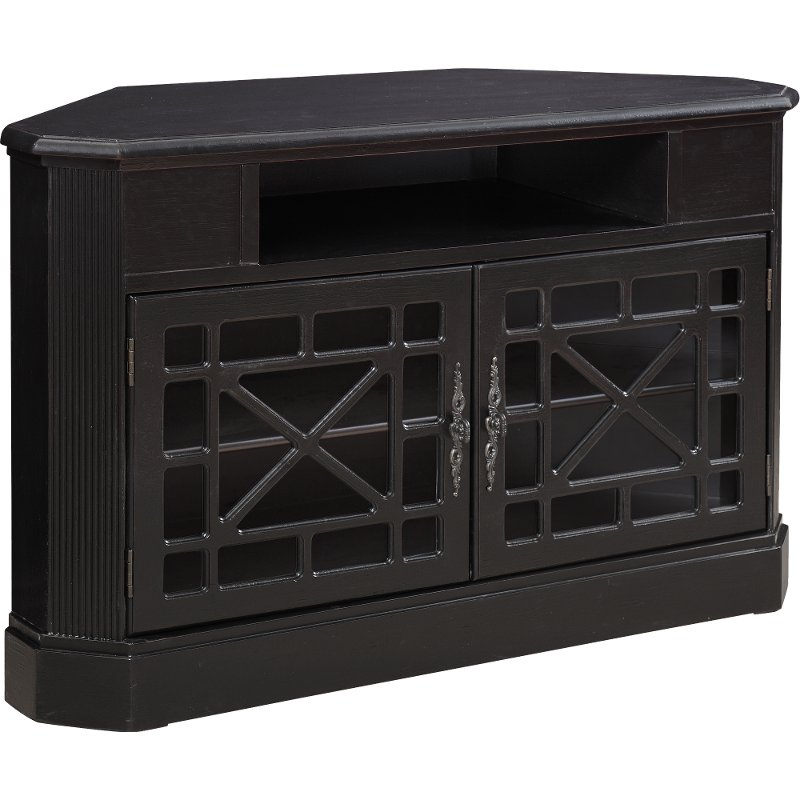 50 Inch Textured Black Corner Tv Stand Rc Willey Furniture Store
