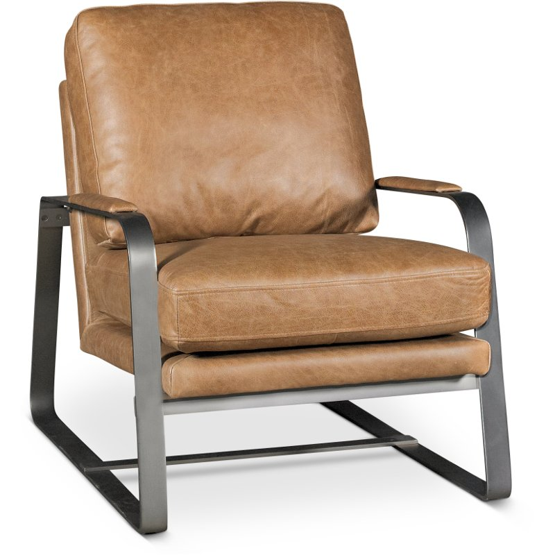 Saddle Brown Leather Accent Chair   Wayne