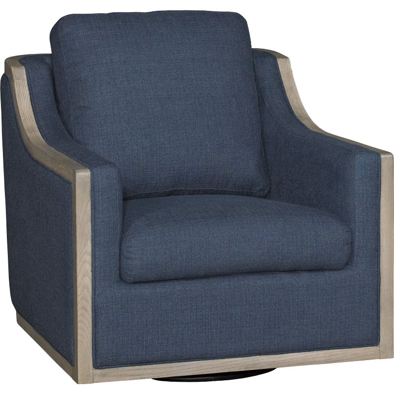 High Quality Midnight Navy Blue Swivel Barrel Accent Chair   Bayly