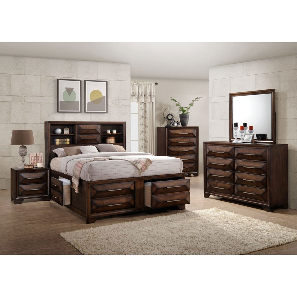 Bedroom Sets Furniture Stores: Contemporary Brown 6 Piece Queen Bedroom Set - Anthem