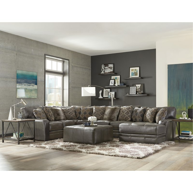 Steel Gray 5 Piece Sectional Sofa with RAF Chaise - Denali