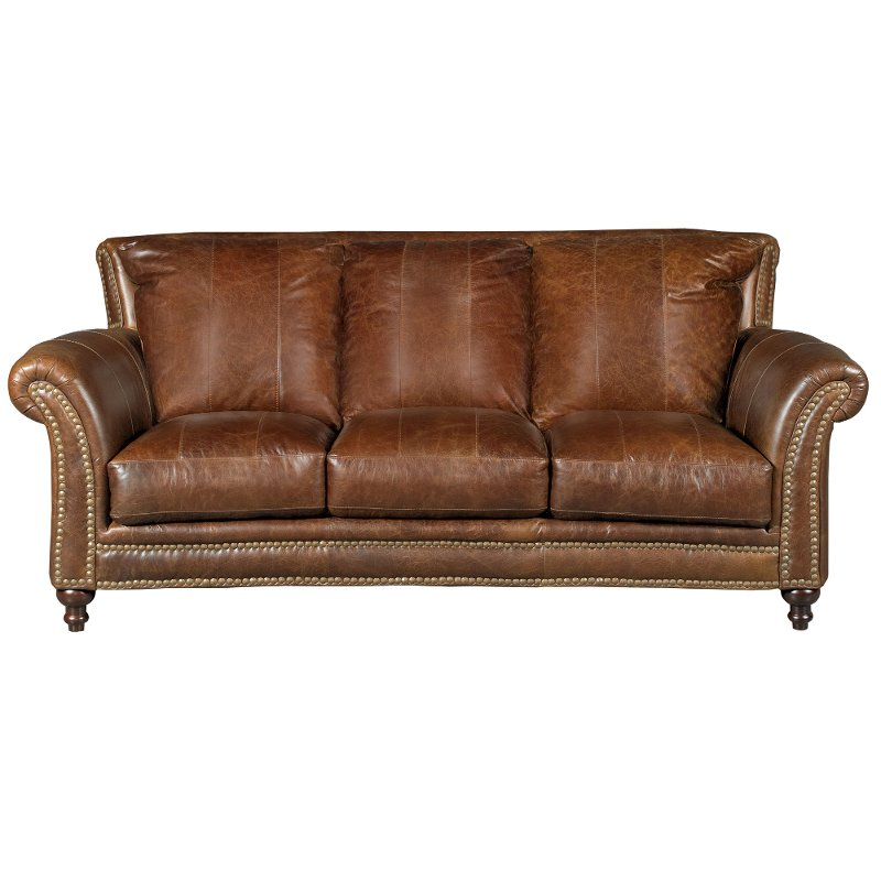 Classic Traditional Brown Leather Sofa Butler Rc