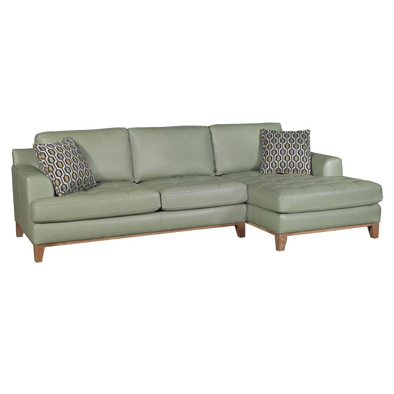 aqua green leather 2 piece sectional sofa with raf chaise rh rcwilley com Dark Aqua Sofa Teal Leather Sectional Sofa