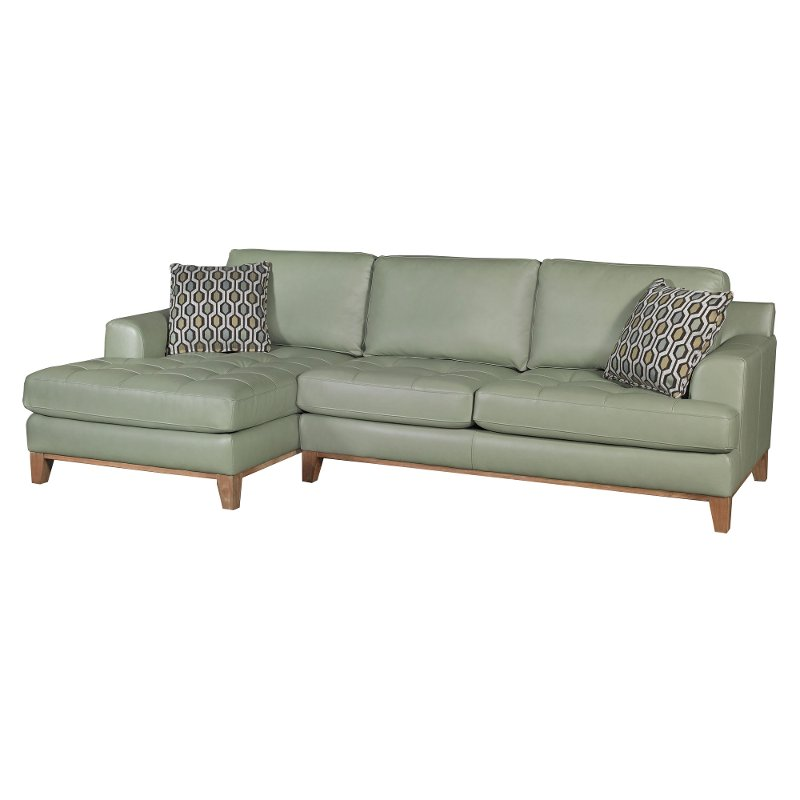 Aqua Green Leather 2 Piece Sectional Sofa with LAF Chaise ...