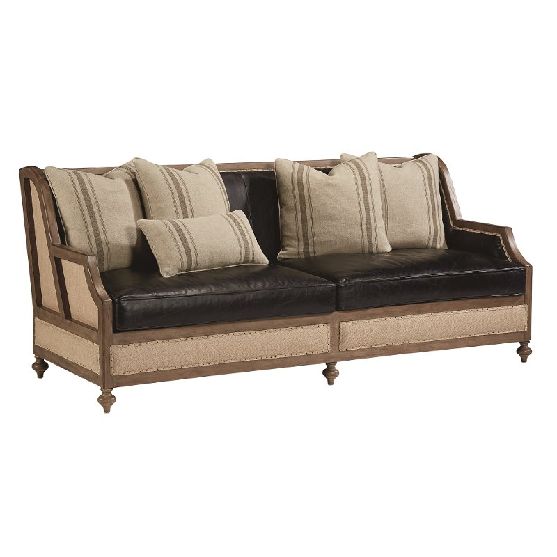 Black Leather Couches To Magnolia Home Furniture Ivory u0026 Black Leather Sofa Foundation Rc