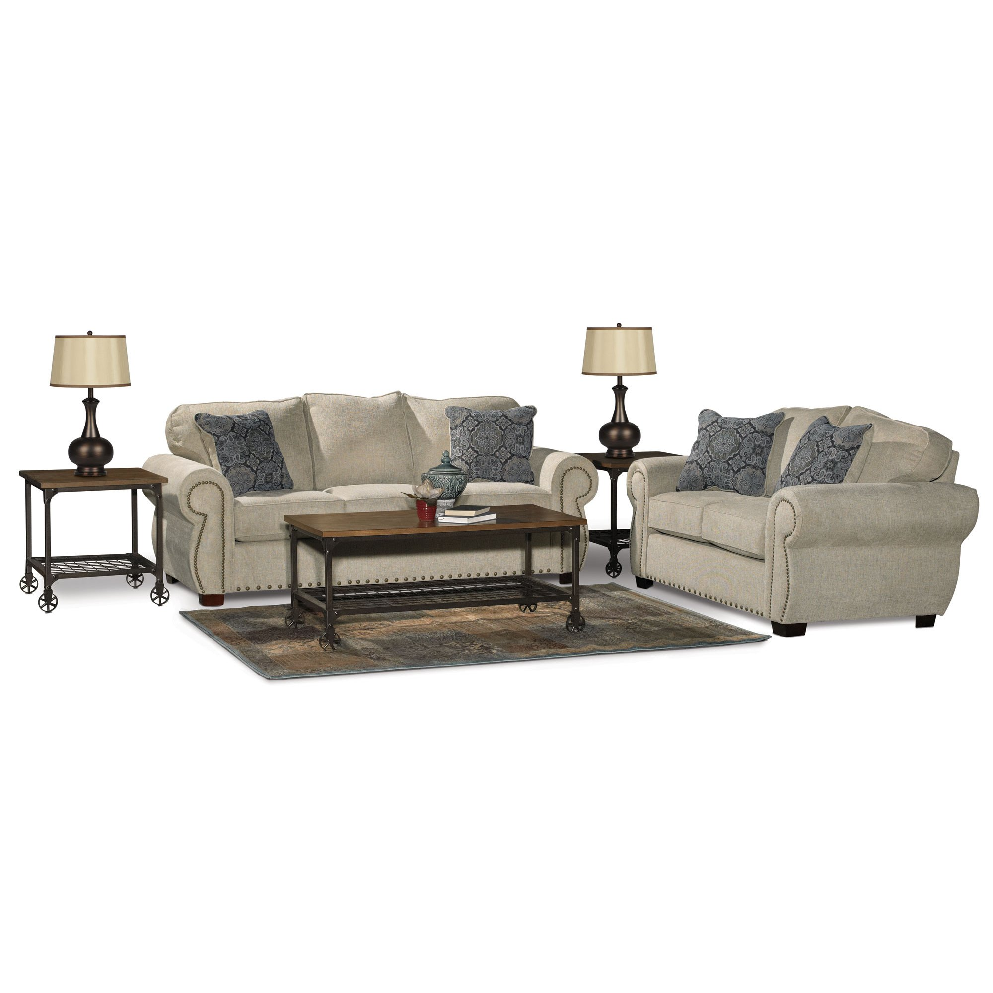 Traditional Canvas Tan Sofa Bed 7 Piece Living Room Set - Southport ...