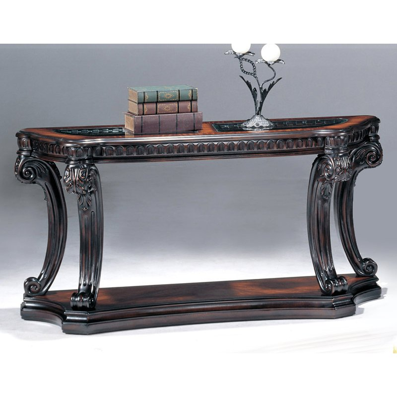 Traditional Brown and Glass Top Sofa Table - Grand Estates