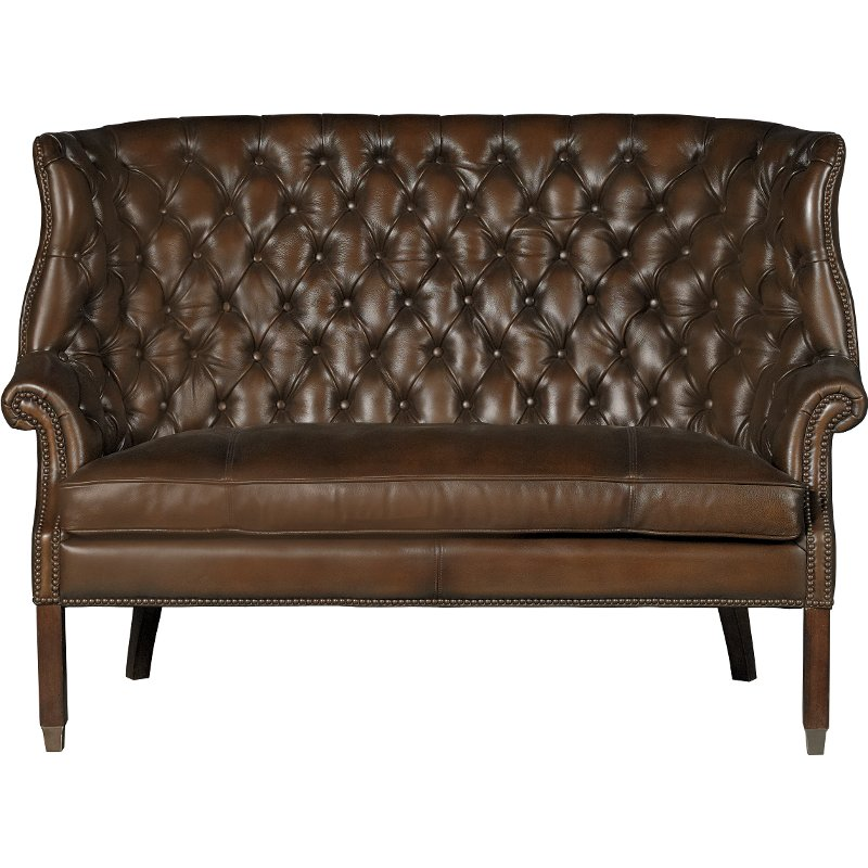 Barcelona Chestnut Brown Leather Settee   Bates | RC Willey Furniture Store