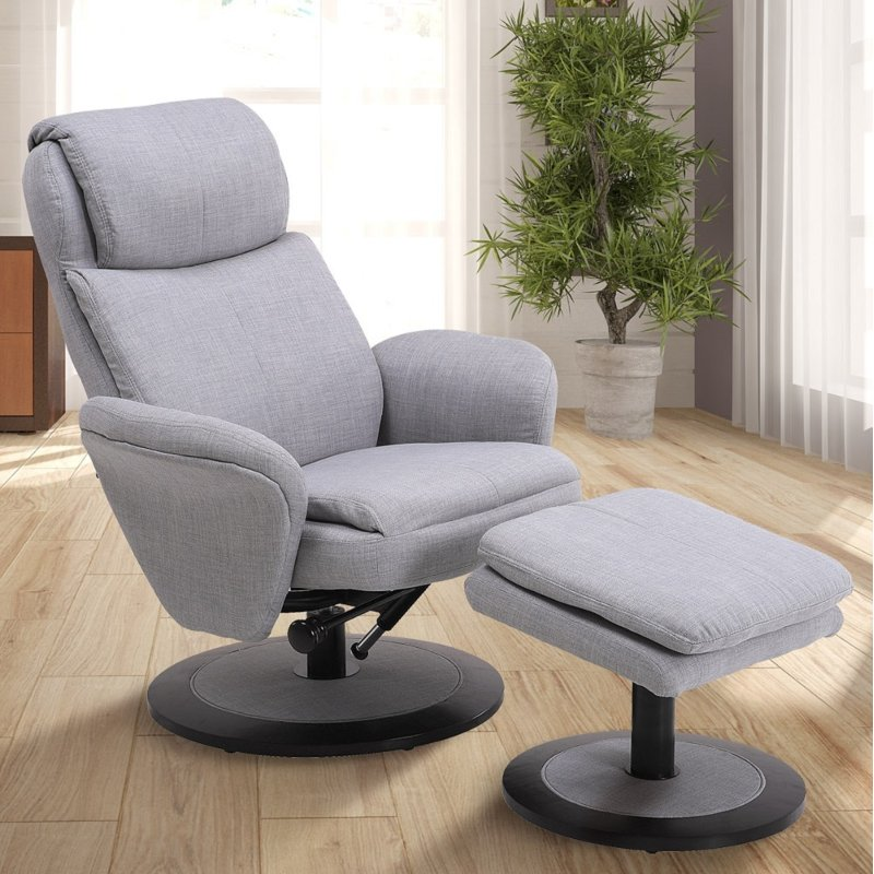 Light Gray Swivel Recliner With Ottoman   Comfort Chair