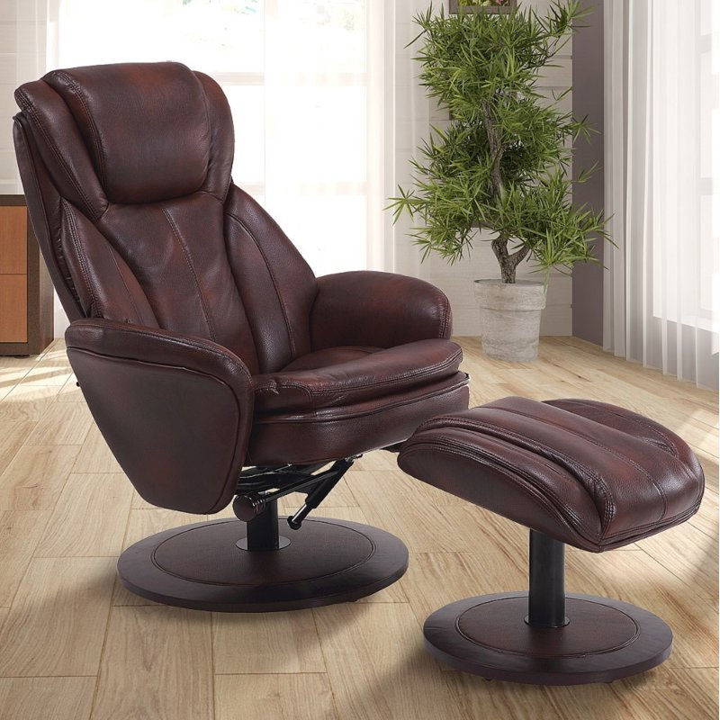 Whiskey Brown Leather Swivel Recliner With Ottoman   Comfort Chair
