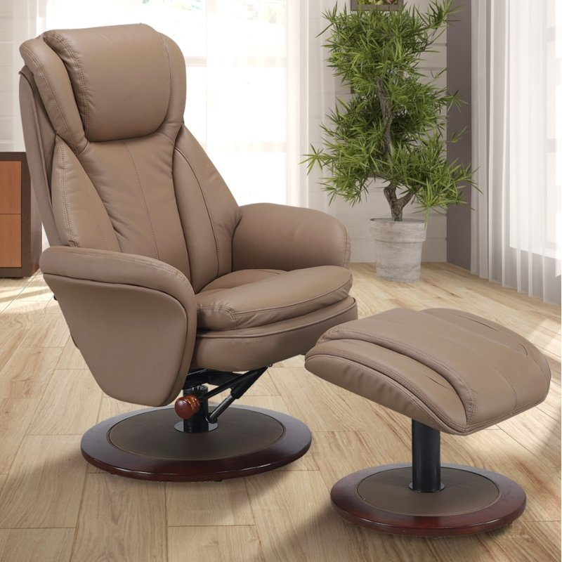 Sand Tan Leather Swivel Recliner With Ottoman   Comfort Chair