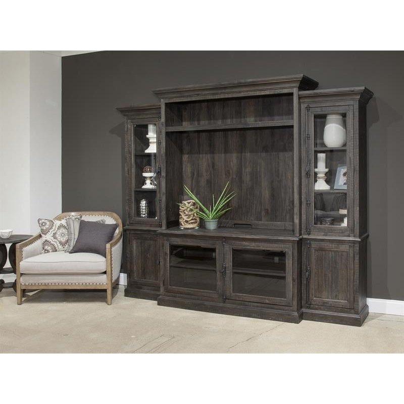 Weathered Brown 4 Piece Rustic Entertainment Center Bellamy Rc Willey Furniture