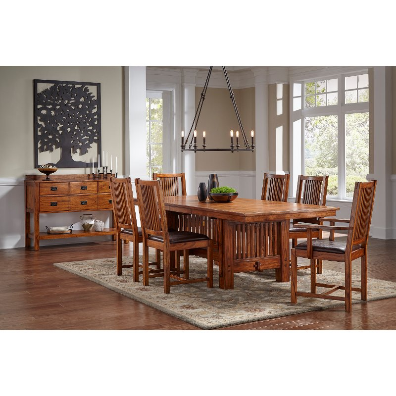 Room Store Clearance: Mission 7 Piece Dining Set With Trestle Table
