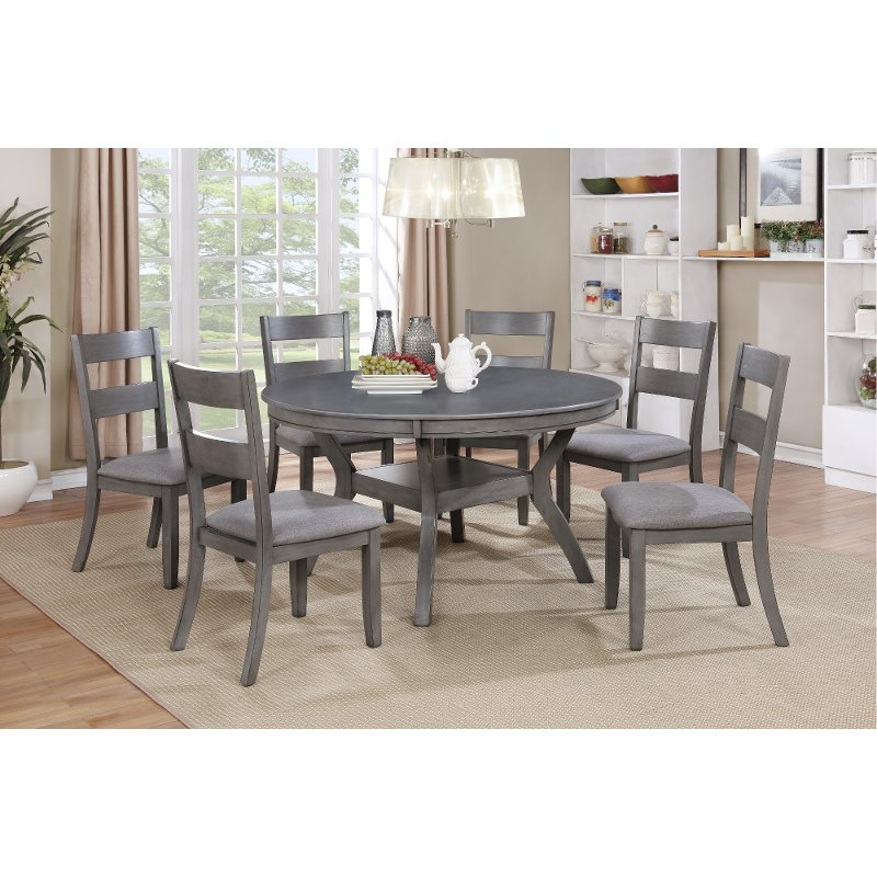 Transitional Dining Room Furniture: Gray Transitional 7 Piece Round Dining Set - Warwick