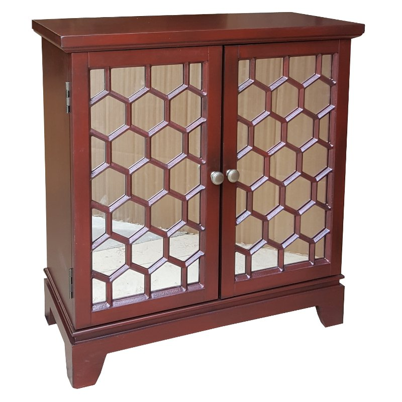 Red Honeycomb 2-Door Mirrored Cabinet  sc 1 st  RC Willey & Red Honeycomb 2-Door Mirrored Cabinet | RC Willey Furniture Store