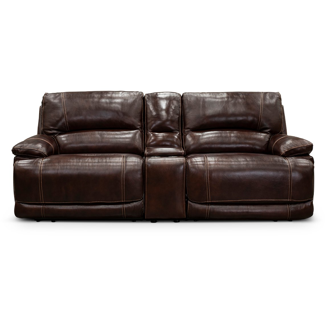 Burgundy 3 Piece Leather Match Power Reclining Console