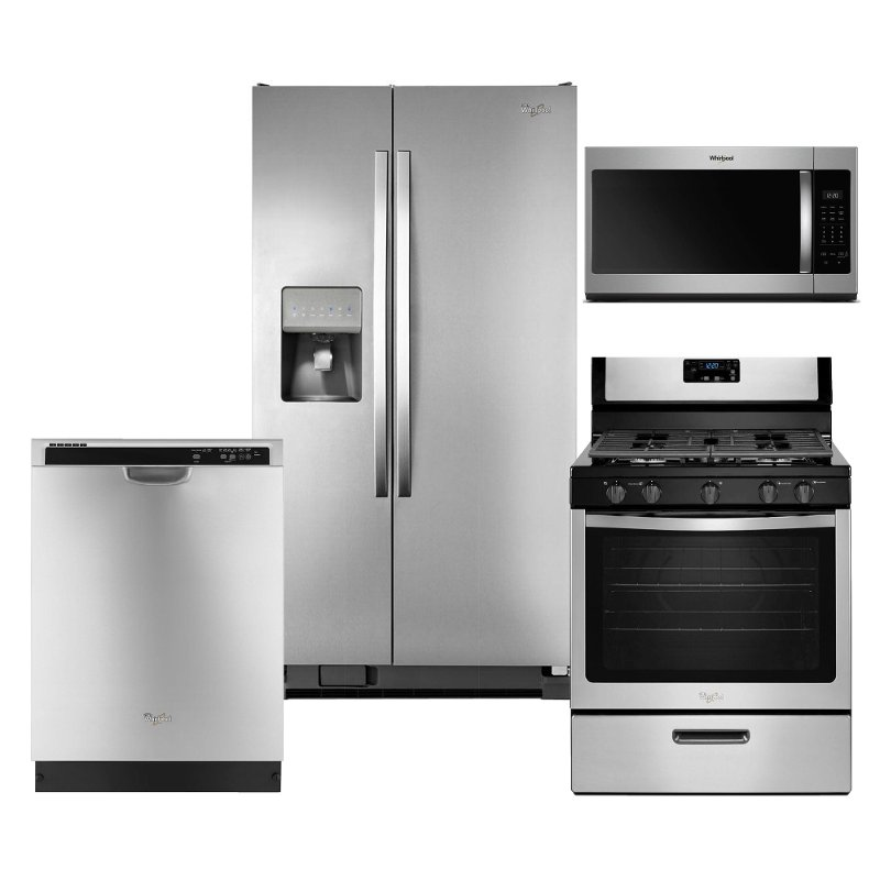 Whirlpool Stainless Steel 4 Piece Kitchen Appliance Package With Gas Range