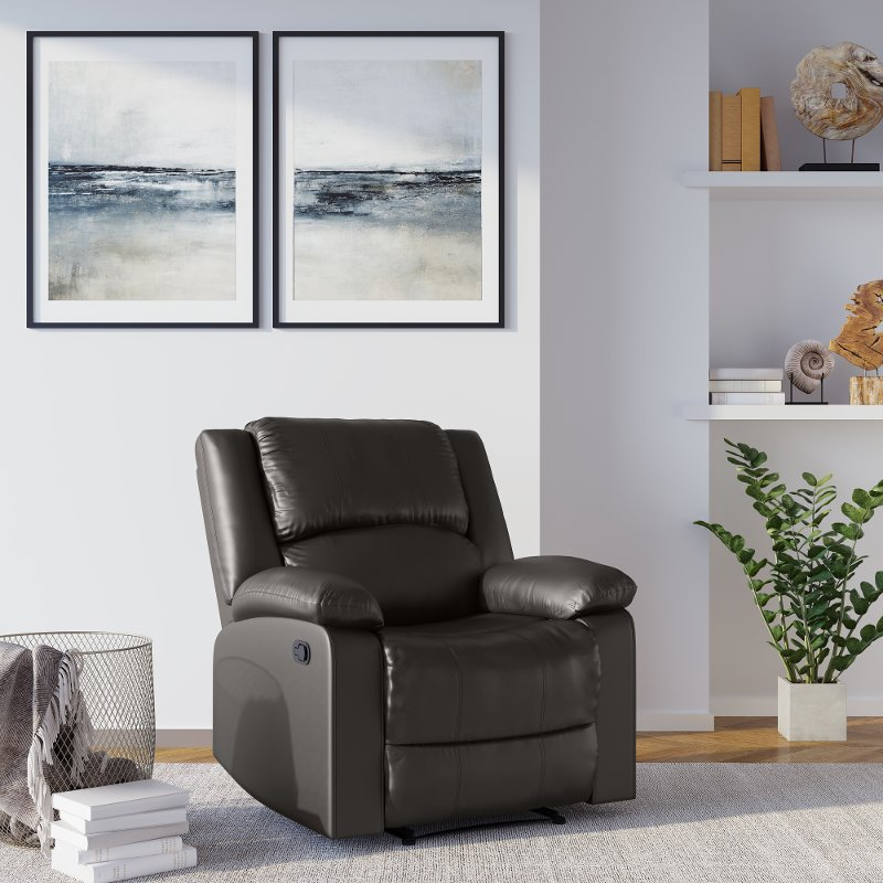 Java Brown Faux Leather Recliner Chair   Preston