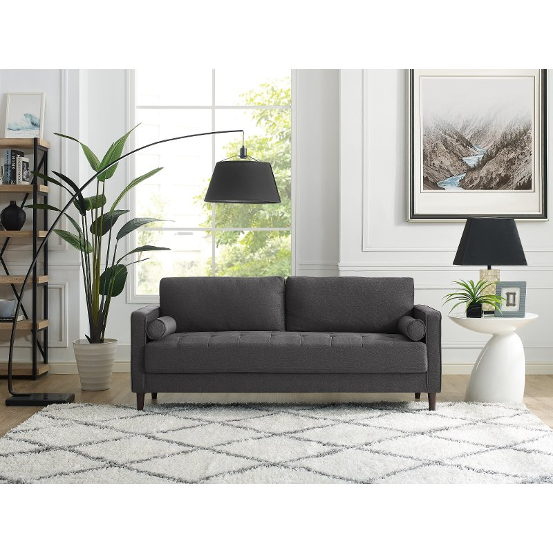 Mid Century Modern Dark Gray Sofa Lawrence Rc Willey Furniture Store