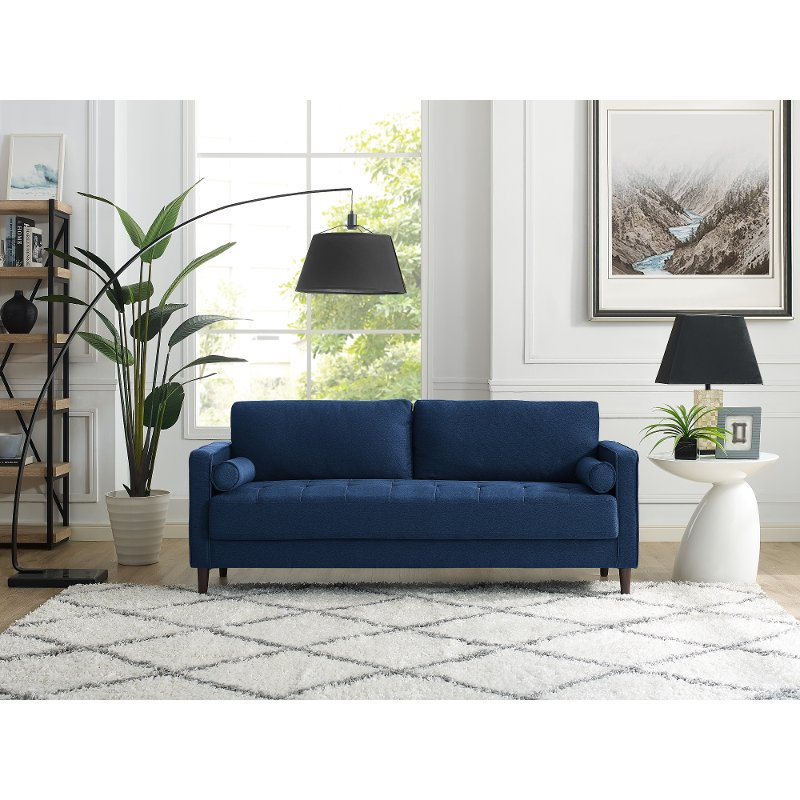 Mid Century Modern Navy Blue Sofa Lawrence Rc Willey Furniture Store