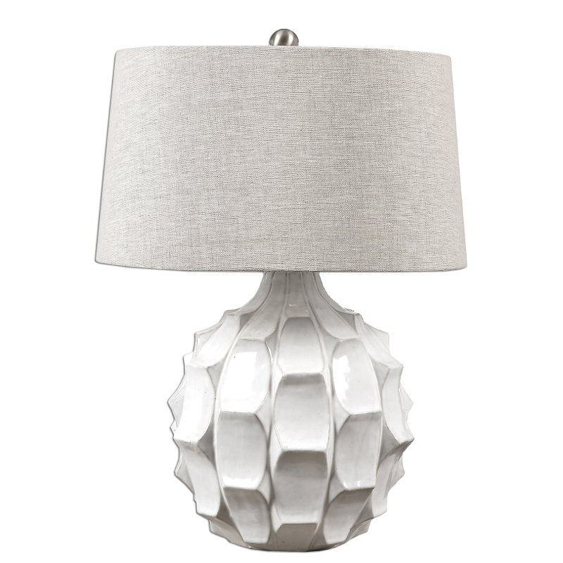 White Scalloped Ceramic Table Lamp Rc Willey Furniture Store
