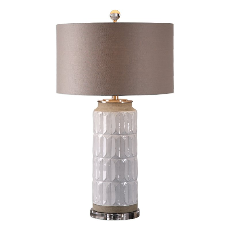White Glaze Embossed Ceramic Table Lamp Rc Willey Furniture Store