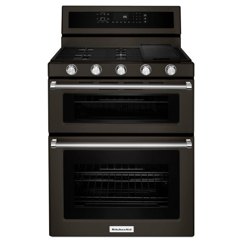 Captivating KFGD500EBS KitchenAid 30 Inch Double Oven Gas Range With Self Cleaning  Convection Oven   Black
