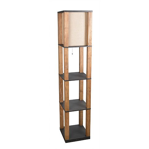 Natural wooden floor lamp with black shelves