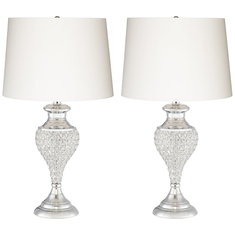 Polished Chrome Glitz And Glam Pair Of Table Lamps