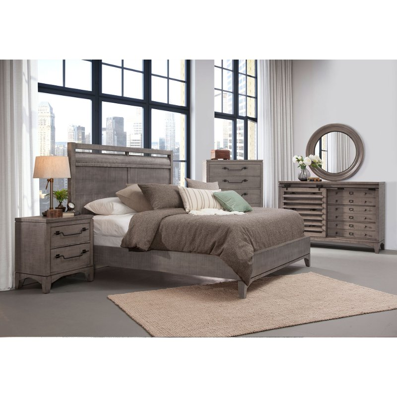 Rustic contemporary old gray 4 piece king bedroom set - Porter contemporary 6 piece bedroom set ...