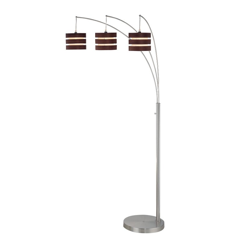 Walnut And Polished Steel 3 Arm Arc Floor Lamp Rc Willey Furniture