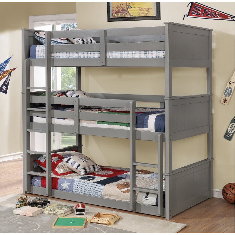 Gray Casual Clic Triple Twin Bunk Bed Davidson