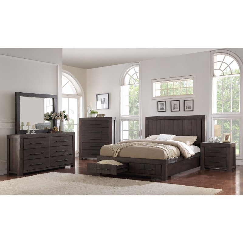 casual classic basalt gray 4 piece king bedroom set heath - Grey Bedroom Set