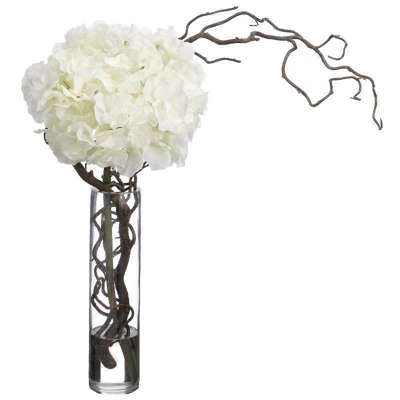 Hydrangeas And Curly Willow Arrangement In A Clear Vase Rc Willey