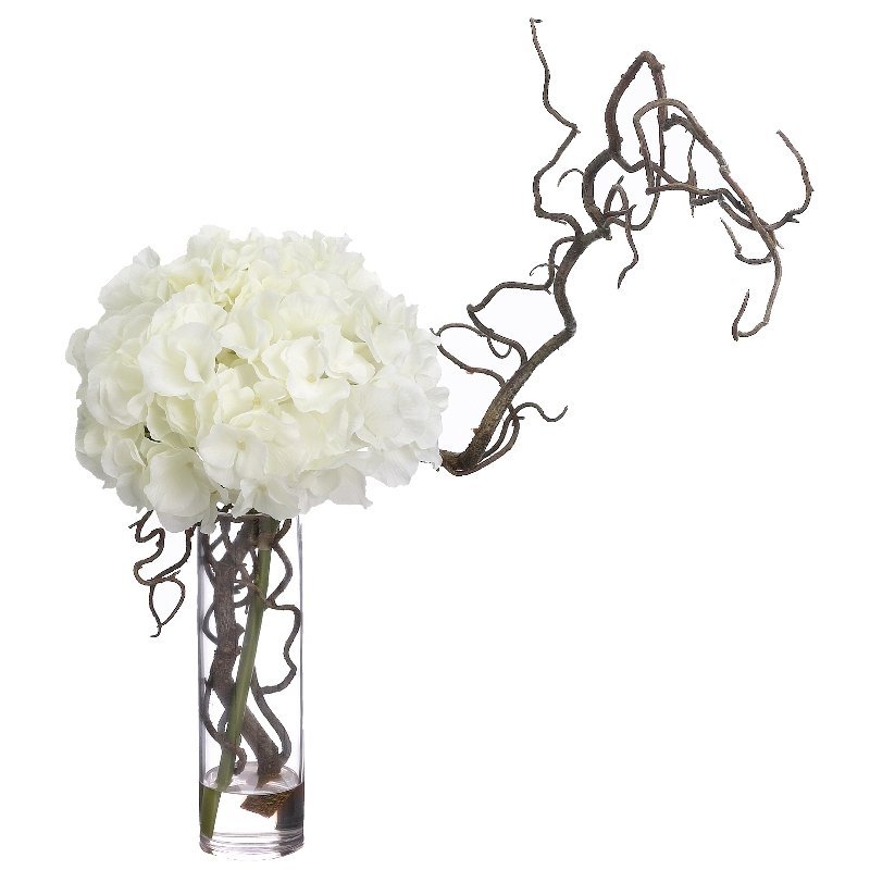 Hydrangea And Curly Willow Arrangement In Clear Vase Rc Willey