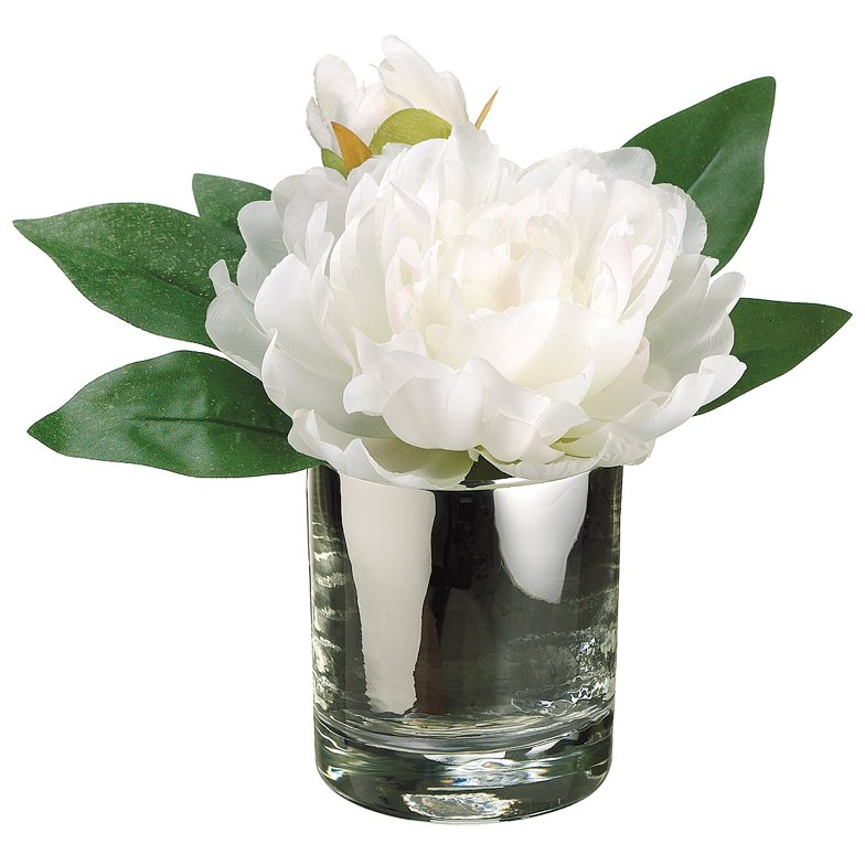 White Peony Arrangement In A Glass Vase Rc Willey Furniture Store