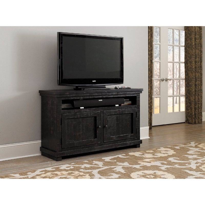 54 Inch Distressed Black TV Stand - Willow