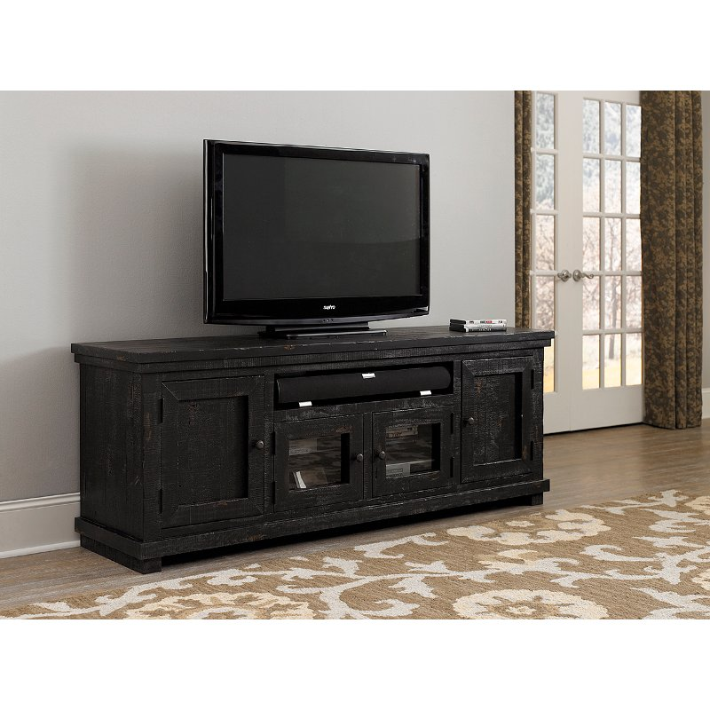 74 Inch Distressed Black Tv Stand Willow