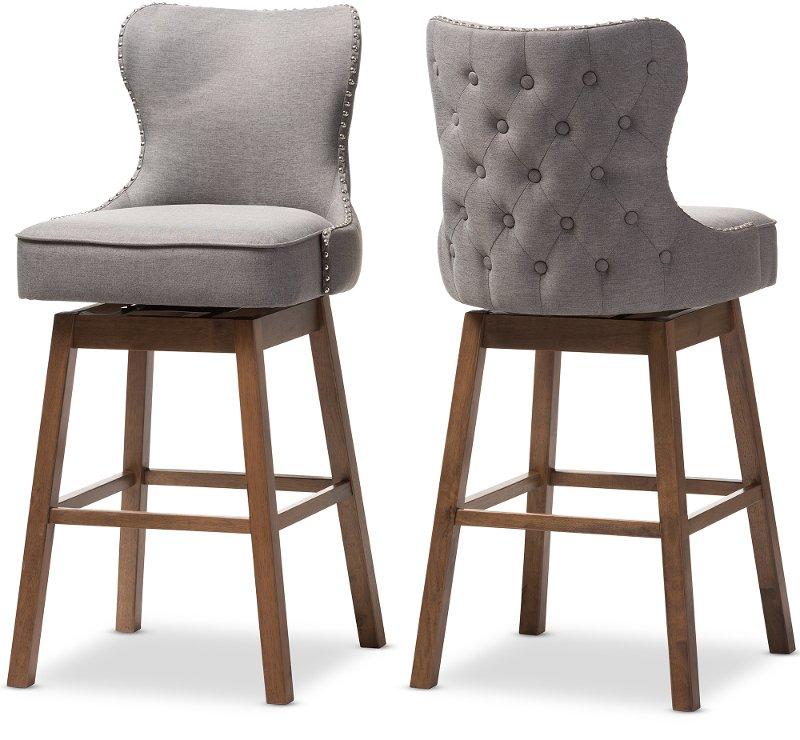 Astonishing Grey Button Tufted Upholstered Swivel Bar Stool Pair Gradisca Ibusinesslaw Wood Chair Design Ideas Ibusinesslaworg